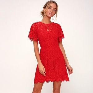 Lulus Pearson Red Lace Dress NEW